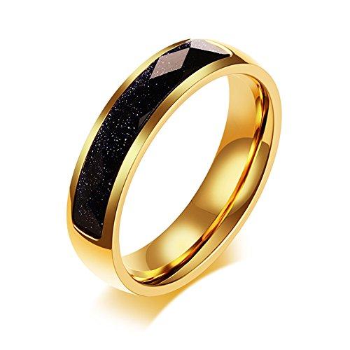 Vnox 5mm Edelstahl Dünne Blaue Sandstein Hochzeit Band Kristall Engagement Versprechen Ring für Männer Frauen Gold