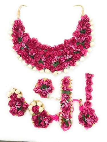 Abhaah Bridal Flower Jewellery Set for haldi Mehandi Baby Shower Floret Gota Patti Necklace, Earrings, Bracelet & maang tika Jewelry for Women