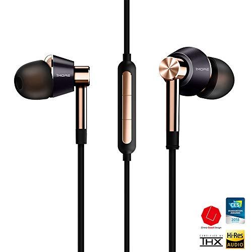1MORE E1001 Triple-driver Hi-Fi Kopfhörer In-Ear Ohrhörer Hi-Res Audio mit Mikrofon und Fernbedienung Kompatibel mit iOS und Android (golden) - 2