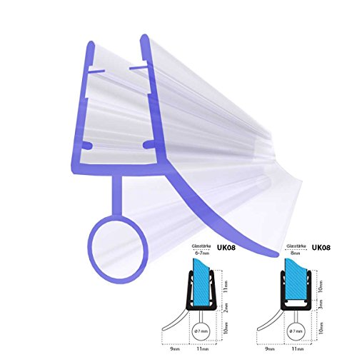 duschwand halbrund STEIGNER Duschdichtung, 80cm, Glasstärke 6/ 7/ 8 mm, Gerade PVC Ersatzdichtung für Dusche, UK08