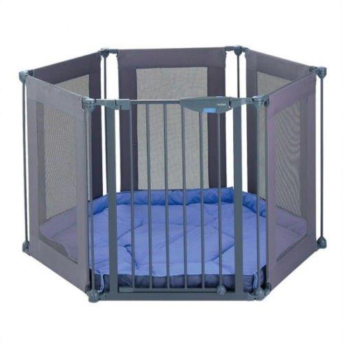 ALL STAR – Parque infantil 3 en 1 de tela, fuerte y duradero, con 6paneles | separador de espacios | puerta de escalera | con alfombra acolchada ajustable; hecho de materiales no tóxicos de alta calidad, color azuly gris