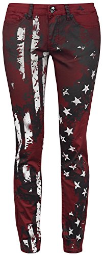 Rock Rebel by EMP Flag Pants (Slim Fit) Pantaloni donna bordeaux W32L34