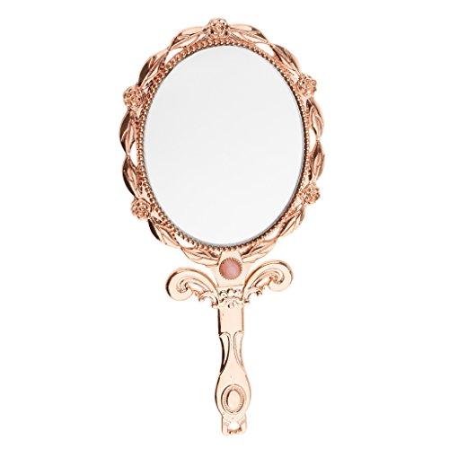 Sharplace Antique Miroir Cosmétique Pliant - Miroir de Poche en Métal avec Décoratif de Rose - Ovale