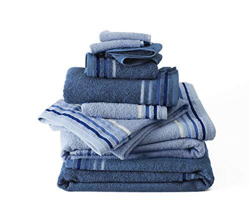Set 10 pezzi spugna bassetti: 4 lavette 30x30, 2 asciugamani ospite 30x50, 2 asciugamani viso 50x100, 2 teli bagno 70x140 (blu)