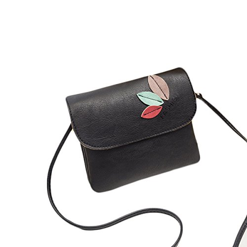 National Style Retro Blumen Messenger Bag Freizeit Einfache Cross Body Schultertasche Black