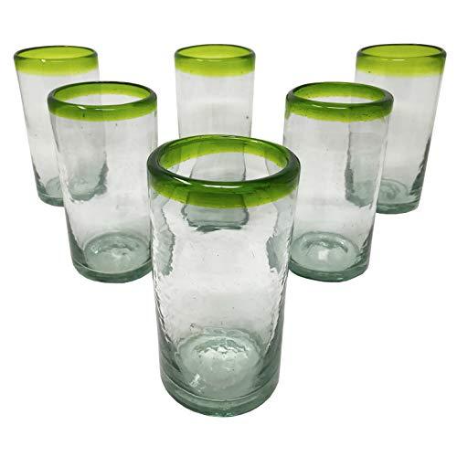 LA MEXICANA mexikanisches mundgeblasenes Trinkglas kobaltfarbener Rand aus recyceltem Glas, 454 ml 6er Set Green Style -