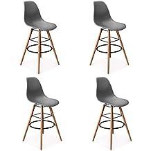 IDMarket - Lot de 4 Tabourets de Bar Design scandinave Gris b5d175304fd3
