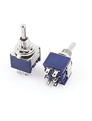 20ST AC 125V 6A EIN-AUS-EIN DPDT Gripzange Mini Kippschalter Blau 6mm
