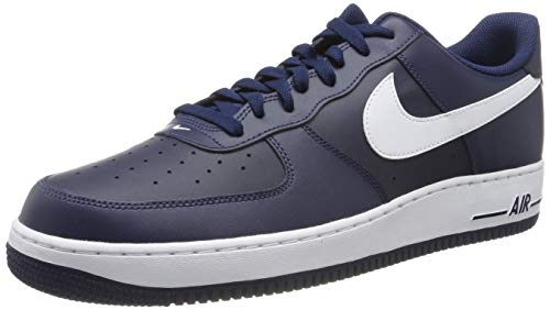 Nike Herren Air Force 1 Basketballschuhe, Multicolore - Azul/Blanco (Midnight Navy/White-Mid Navy), 45 EU