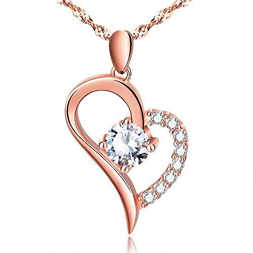 FZ FUTURE 925 Sterling Silber Herz Ich Liebe Dich bis zum Mond und zurück Halskette graviert Anhänger Geschenk für Frauen Mädchen Mama,Rosegold
