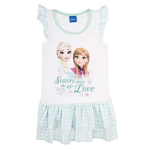 Disney 73601 ELSA Mädchen Kleid mit zauberhaftem Motiv Rüschen am Arm Stretch, Groesse 98, Mint/weiß