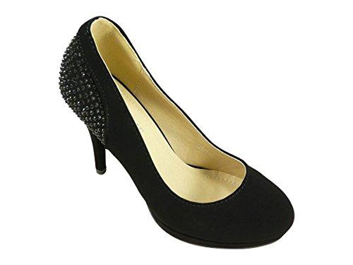 Chaussures escarpins femme à talons hauts, plateforme et strass Noir
