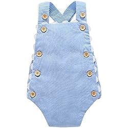 Covermason Bebé Niña Algodón Bowknot Enrejado impresión Mono Bodies (18-24M, Azul)