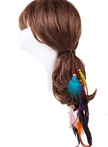 Maker Bun Kostüm - Fodattm 3Mädchen Frauen Handgefertigt Boho Hippie Feder Haarband Seil Krawatte Kopf Wrap Haar Elastisch Band Haar Pferdeschwanz Inhaber Haarschmuck Kopfschmuck