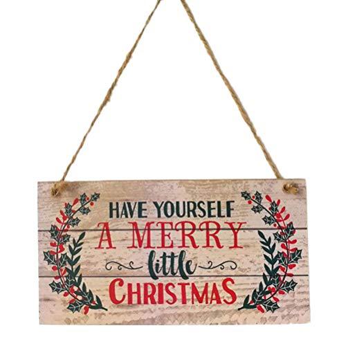 YeahiBaby Addobbi Natalizi Decorazioni di Natale in Legno con Merry Christmas Targhe Vintage Decorative 20 x 10 x 0.5cm