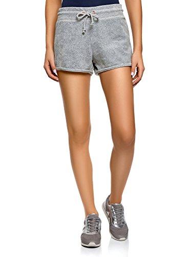 oodji Ultra Damen Shorts aus Samtigem Stoff mit Bindebändern, Grau, DE 36 / EU 38 / S