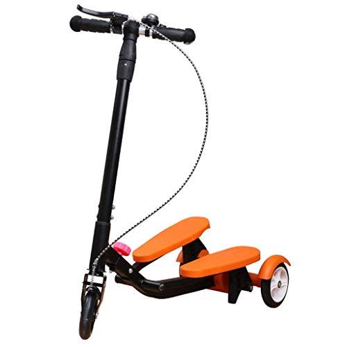 FANGDA Kinderfahrräder Roller Kinder Treten Stepper Roller Faltbare 3 Höhenverstellbare Fahrrad Jungen und Mädchen Alter 3-15 (Orange)