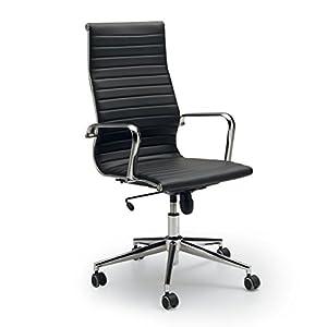 Fauteuil haut Directivité disponible en simili cuir Couleur Blanc–Noire