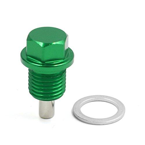 sourcing map M14 X 1,5 Aluminio Verde Magnético Tornillo de Vaciado del Cárter de Aceite del Motor
