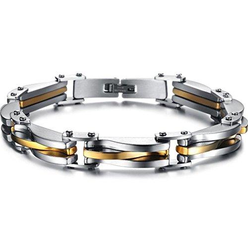 Aruie Schmuck Armband Link Gold Gold Silber zweifarbig Stahl inoxdable Kette von Hand Einfache klassische Cool Geschenk Herren (Hand Linke Sockel)