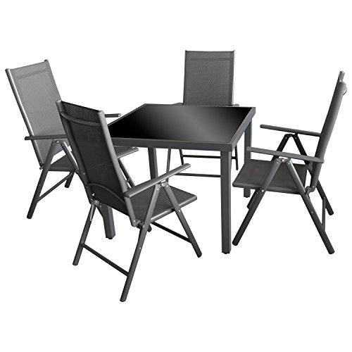 5tlg. Gartengarnitur Gartenmöbel Terrassenmöbel Set Sitzgruppe Aluminium Glastisch 90x90cm + 4x Hochlehner 2x2 Textilen