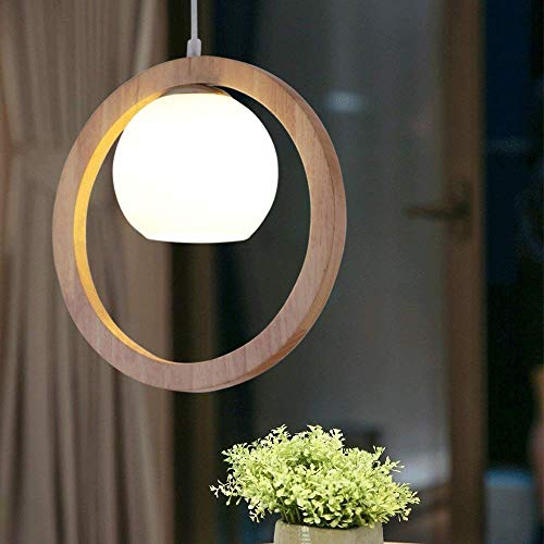 Kronleuchter aus Glas, Weiß, Nordischer Kreis Deckenleuchte aus Holz, Zen-Art, Kronleuchter aus Holz, Glas, für Wohnzimmer, Esszimmer, Schlafzimmer, Beleuchtung E27 (nicht im Lieferumfang enthalten)