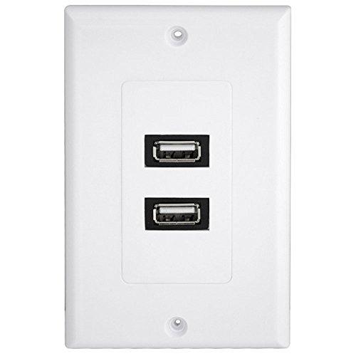 USB-Ladegeraet Buchse Wandplatte USB Steckdose 2.0 wanddose Tafel Netzkabel und Mehrfachsteckleisten Dual Tv Wall Plate