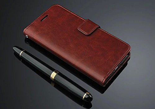 D-kandy VINTAGE STYLISH PU LEATHER FLIP WALLET COVER BACK CASE FOR VIVO Y31 L - BROWN