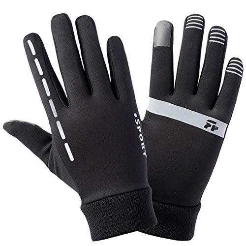 Gants de Moto d'hiver Gants de Velours Lumineux Minces pour équitation Voyage Anti-dérapage Gants de Sport en Plein air à écran Tactile XL