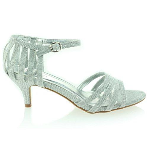 Femmes Dames à lanières Pétillant Briller Talon Moyen Soirée Mariage Bal de Promo Sandale Chaussures Taille Argent