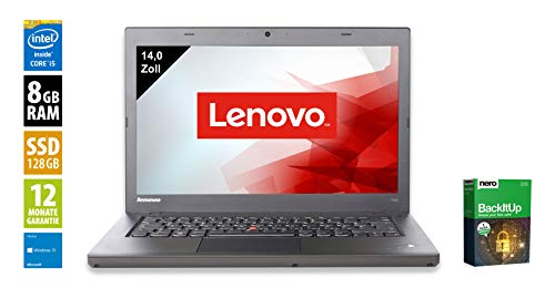 Lenovo ThinkPad T440 | Notebook | Laptop | 14,0 Zoll (1600x900) | Intel Core i5-4300U @ 1,9 GHz | 8GB DDR3 RAM | 128GB SSD | Webcam | Windows 10 Home (Zertifiziert und Generalüberholt) - Die Aus Dem Leasing Thinkpad