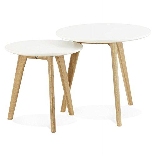 MK Tables Basses Design gigognes Art en Bois chêne Massif (Blanc)