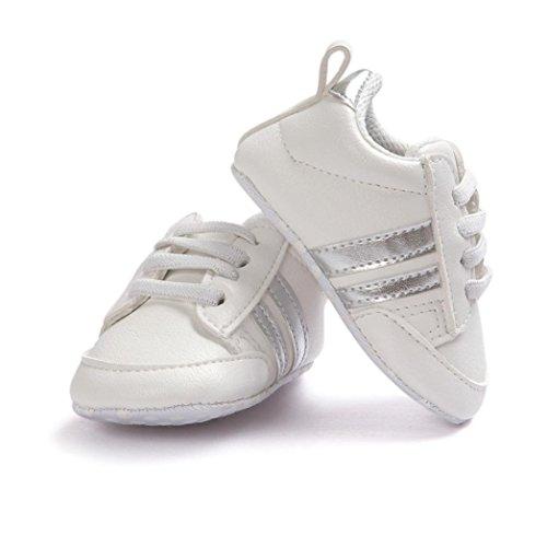 Jamicy Baby Schuhe Soft Bottom Anti-Rutsch Leder Sport Schuh für Kleinkind Kleinkind Jungen (6-12 Monat, Silber)