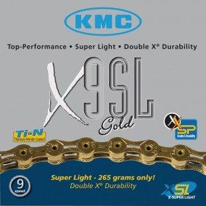 KMC Fahrrad Kette KMC X-9-SL gold 9-fach Superlight 18 27 Gang 116 Glieder Karton Shimano Schaltung, 300902
