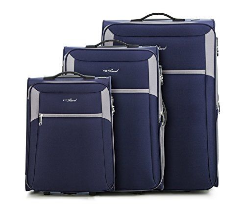 WITTCHEN Koffer - Weich | 73x47x33cm, 96 L, 7.6 KG | Material: Polyester, Dunkelgrau | Kollektion: VIP COLLECTION - v25-3S-23S-24