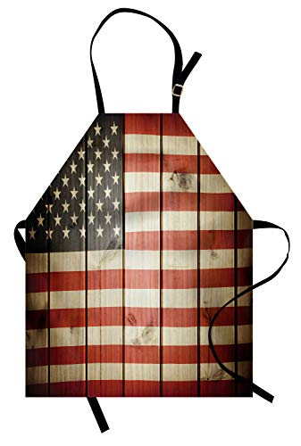 ABAKUHAUS Amerikanische Flagge Kochschürze, USA-Flagge über vertikaler gestreifter hölzerner Brett-Bürger-Solidaritäts-Kitsch-Grafik, Maschienenwaschbar Wasserdicht kein Verblassen, Blau ()