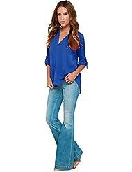 LHWY 2016 Las Mujeres Blusa de Gasa V Cuello Manga Larga Camisas Superior (Azul, XXXL)