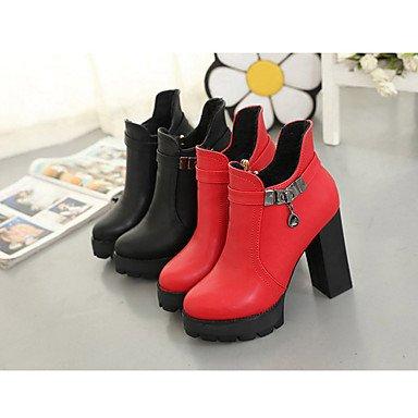 GLL&xuezi Da donna Stivaletti Stivali PU (Poliuretano) Autunno Inverno Casual Stivali Quadrato Nero Rosso 5 - 7 cm red