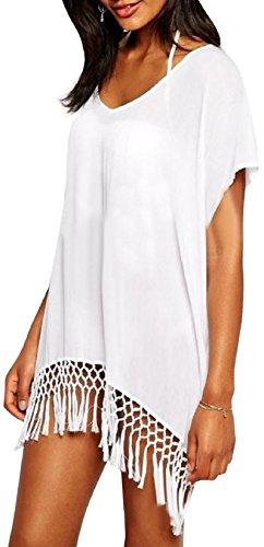 Walant Damen Chiffon Streifen Strandkleid Bikinikleider Elegant,Weiß, one size