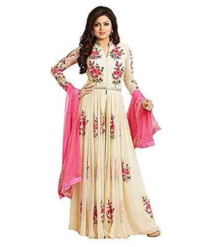 Jay Varudi Creation Women's Georgette Anarkali Dress Material (Honey Cream_Beige_Free Size)