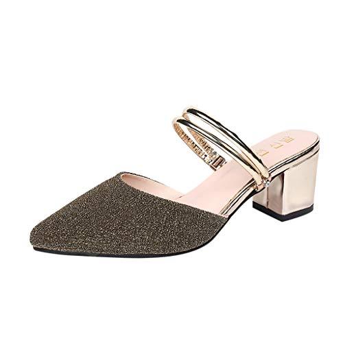 Makefortune 2019 Sandalen Damen Sommer, Frauen Pailletten Wies Hausschuhe Sandalen Damen Sandalen Mit Hohem Absatz An Party Sandaletten Hausschuhe Bequeme Schuhe