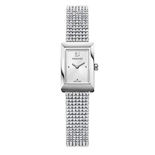 Swarovski Memories Uhr, Crystal Mesh Armband, Weiss, Silberfarben