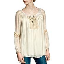 348778423e9911 CASPAR Damen elegante Seiden Langarm Bluse mit ausgefallenem Häkel  Spitzeneinsatz MADE IN ITALY - viele Farben