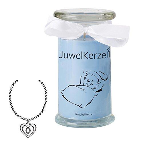 """JuwelKerze\""""Kuschel Kerze - Duftkerze im Glas mit Schmuck Überraschung aus Silber (Halskette)"""