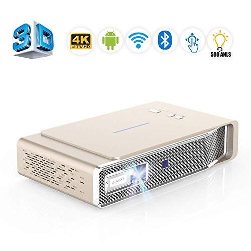 Mini Beamer mit tragbarer, V5 Projektor mit 500 ANSI-Lumen Unterstützt Dual-Band-Wi-Fi/BT-4.2 / Ultra-HD-4K / Max300-Zoll/DLP-3D-Video für Zuhause, Business und Bildung,Gold
