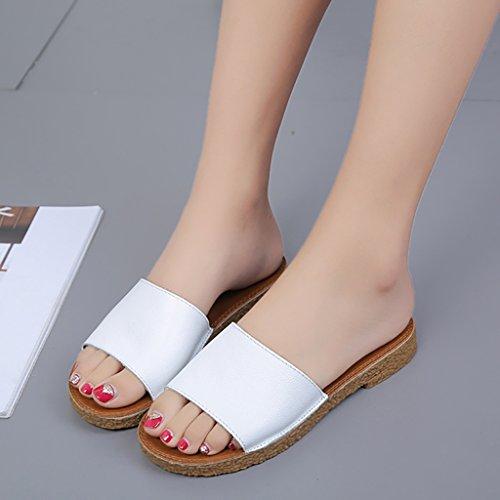 PENGFEI sandali delle donne Sandali pantofole spiaggia estate Donna Sandali piatti antisdrucciolo Pantofole studenti in bianco e nero Confortevole e traspirante ( Colore : Nero , dimensioni : EU38/UK5 Bianca