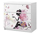 Set Möbelaufkleber für Ikea Kommode MALM 3 Fächer/Schubladen Kinderzimmer Mädchen Fee Prinzessin Kat2 Schmetterlinge rosa ML3 Aufkleber Möbelfolie sticker (Ohne Möbel) Folie 25C2677