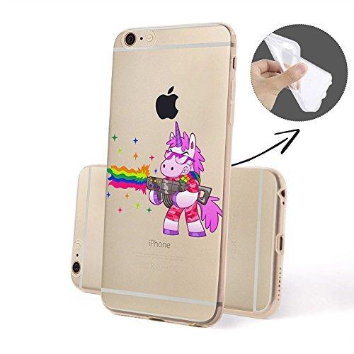 Finoo Handyhuelle Silicone Motivo 7 - Unicorno presse, iPhone 5/5S Unicorno Pistola