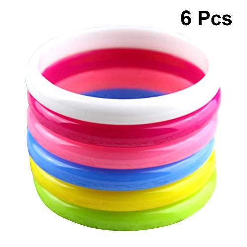 Toyvian Kunststoff Armreif Armbänder Kinder Party Favors Candy Farbe Armband Party Kostüm Tasche Füllstoffe 6 stücke (Zufällige Farbe)