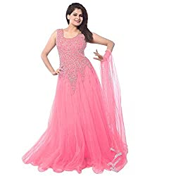 Muta Fashions Women Semi Stitched Embroidered Net Party Wear Gown ( GM_01_Pink) (Semi Stitched) Free Size Baby Pink ...